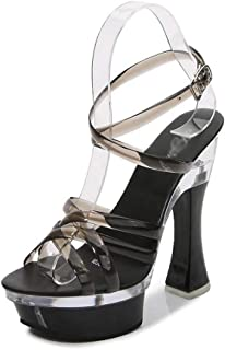 Womens Clear Platform Sandals,Transparent Open Toe Perspex High Heels,for Wedding,Party,Prom
