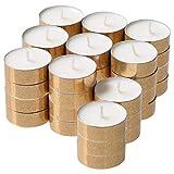 Ikea MEDGE Duft-Teelichter Sweet Vanille mit goldenen Glitzerbechern - 90 Stück