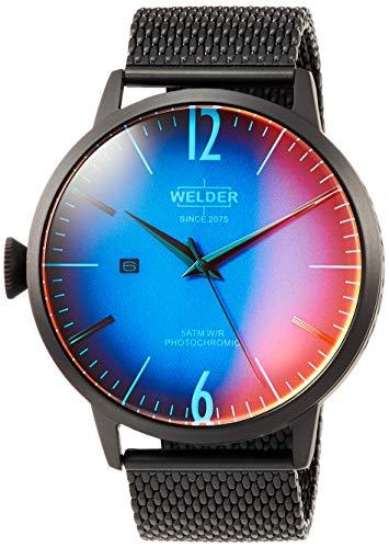 Welder Men's Black Steel Bracelet & Case Quartz Blue Dial Analog Watch WRC408