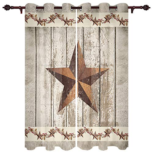 Fandim Fly Grommet Window Curtain Western Texas Star and Primitive Berries on Country Wooden Plank Window Curtains Draperies for Bedroom and Living Room 52 x 52 Inch, Set of 2 Panels