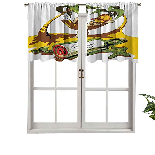 Hiiiman Rod Pocket Valance Blackout Curtain Image of Young Man in Hammock Message, Set of 1, 36'x18' for Bedroom Living Room