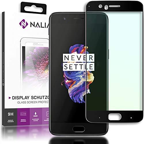 NALIA Schutzglas kompatibel mit OnePlus 5, 5D Full-Cover Bildschirmschutz Handy-Folie, Festigkeit Glas-Schutzfolie Display-Abdeckung, Schutz-Film HD Screen Protector Tempered Glass - Transparent (schwarz)