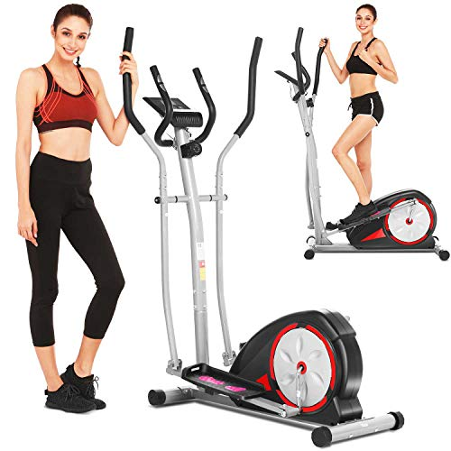 FUNMILY Elliptical Machine, Portable Magnetic Ellptical Exercise Machine with LCD Display for Home Office Use (Light Red)