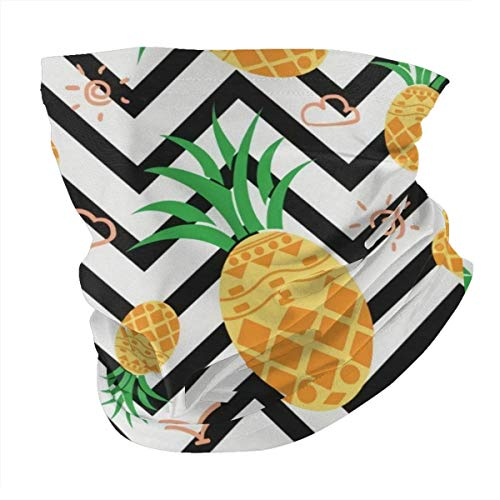 Hawaiian Geometric Pineapple Mans Womans Seamless Scarf Balaclava Mask-Neck Gaiter Breathable Cover Mask Sunscreen UV Protection for Jogging Reusable