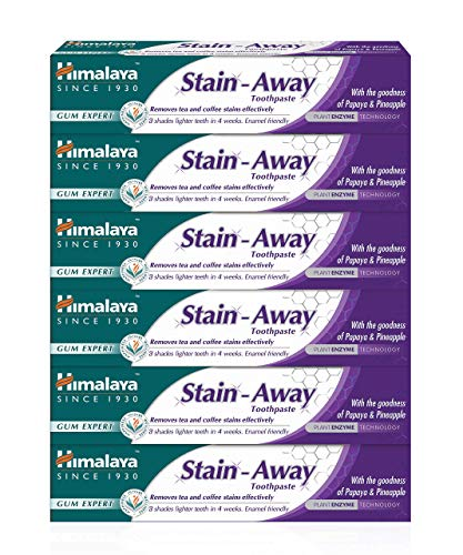 Himalaya Enamel Friendly Stain Away Toothpaste, removes Tea and Coffee Stains, 75 ml (6 PACK)
