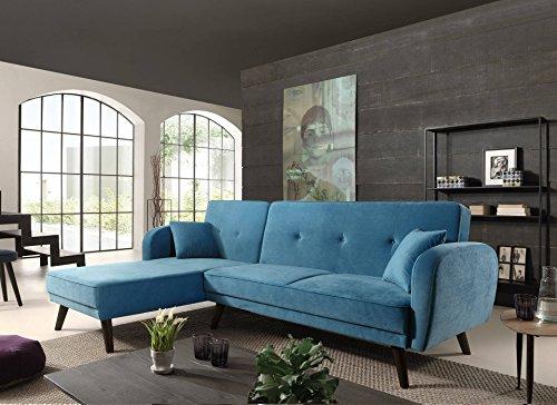 Canapé d'angle 4 places Bleu Velours Pas cher Design