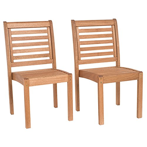 Amazonia Leeds 2-Piece Stackable Side Chair | Eucalyptus Wood | Ideal for Outdoors and Indoors