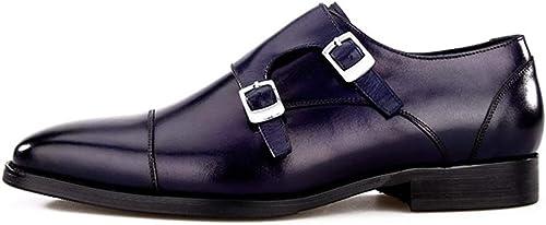 HHFOOT Homme Cuir Chaussures Oxfords Lacets Formel Mariage Affaires Travail Travail Vêtir Fête Bout Pointu à Plat Bleu Taille 38-44  prix raisonnable