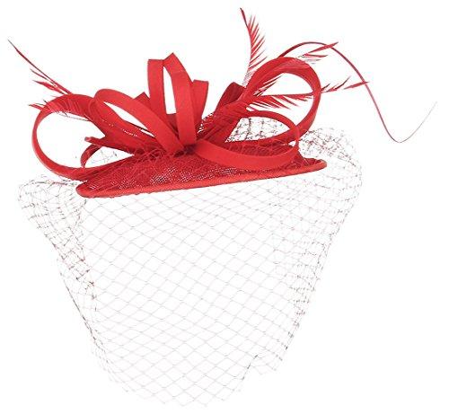 La Vogue Chapeau Mini Voile Plume Femme Mariage Cérémonie Accessoire Cheveux Rouge