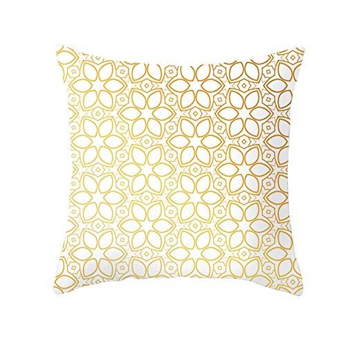 AtHomeShop 45 x 45 cm, funda de cojín decorativa en poliéster con estampado geométrico de flores, suave, cómoda, cuadrada, para sofá, dormitorio, decoración, color blanco y amarillo, estilo 30