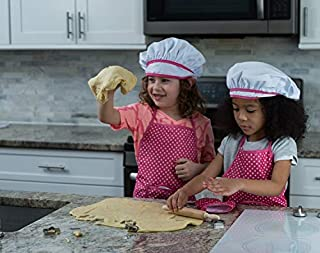 JaxoJoy Complete Kids Cooking and Baking Set - 11 Pcs Includes Apron for Little Girls, Chef Hat, Mitt & Utensil for Toddler Dress Up Chef Costume Career Role Play for 3 Year Old Girls and Up (Renewed)