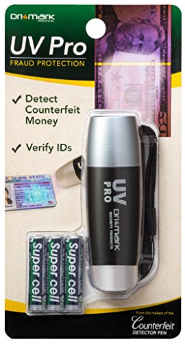 Dri Mark UV Pro Proprietary Ultraviolet Flashlight Document Fraud & International Counterfeit Money Detection - Detects Pet Urine, Stains & Cleanliness - Loss & Fraud Protection Batteries Included