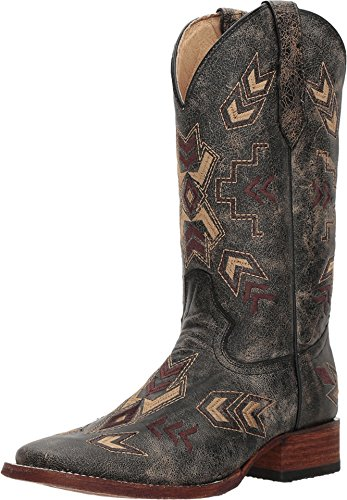 Corral Circle G Boot Women's 12-inch Distressed Leather Arrowhead Wide Square Toe Black/Bone Western Boot