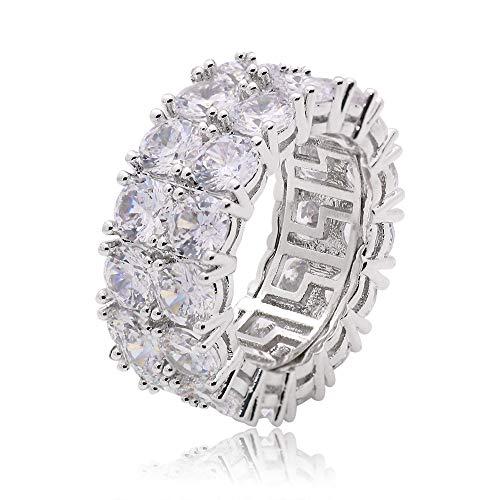Unisex Rhinestone Ring Einreihig Edelstahl Diamant Ring 10 6 Größe B9F2
