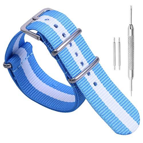 24mm Estilo luz Azul/Blanco/Azul Claro de la Super cómodo Tipo Reloj Pulsera...