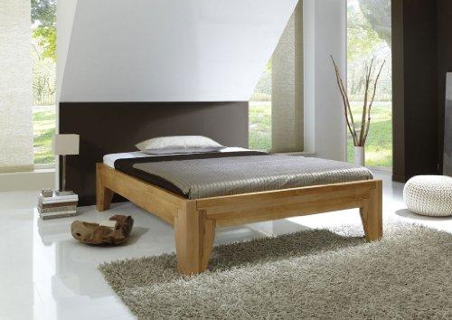 DaMi Holzbett Stella A - Massivholz-Bett in Kernbuche - Metallfreies Stecksystem - Doppelbett, 180 x 200 cm