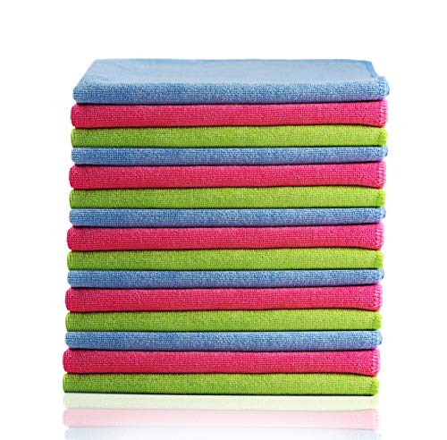 Glart - Bayetas de microfibra para limpiar el coche, suaves, absorbentes y sin pelusas, no rayan la pintura, 40 × 40 cm, azul, verde y rosa (paquete de 15)