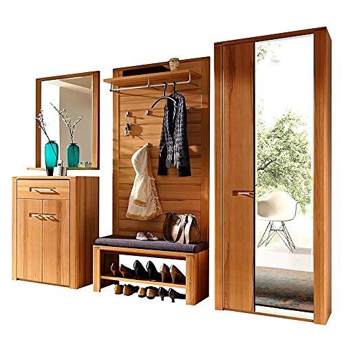 Nature Plus Flurgarderoben Set teil-massiv aus Kernbuchenholz - Stylishe Garderobenkombi für Ihren Eingangsbereich - 268 x 200 x 40 cm (B/H/T)