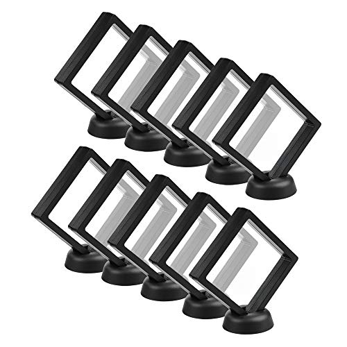 CrazyStorey Set of 10 Pcs Black Diamond Shape Display 3D Floating Frame Display Holder Stands ,Medallions, Jewelry,Challenge Coin,2.75 x 2.75 x 0.75 inches