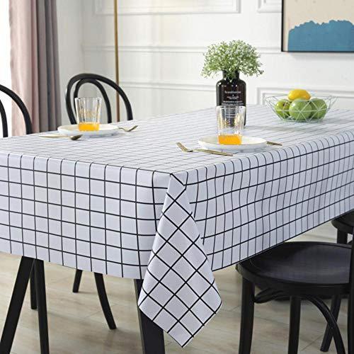 EDCV Tafelkleed Home Decor Manteles PVC Waterdicht Tafelkleed Eenvoudig Plaidpatroon Rond Tafelkleed Plastic Oilproof, Wit plaid