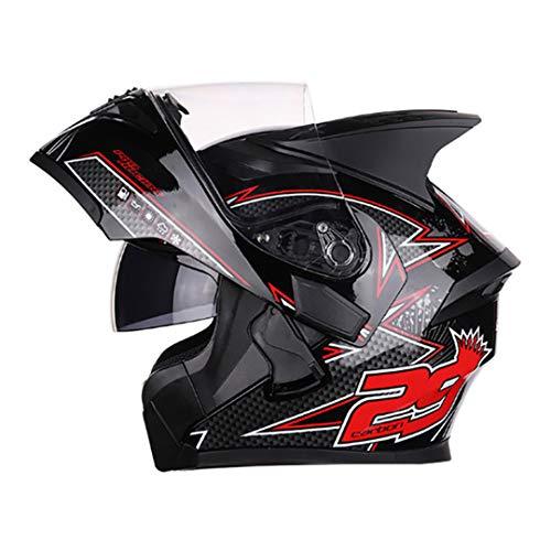Casco para Motocicleta Casco Modular de Motos Carreras abatibles con Visera Interior Doble Lente