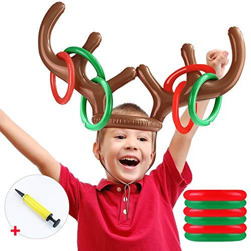 CENOVE Aufblasbares Rentier Geweih Ring Wurfspiel Weihnachtsfest Wurfspiele für Familien Kinder Weihnachtsspaß Spiele (2 Geweihe 20 Ringe)