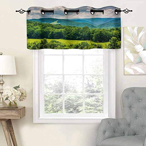 Grommet Blackout Curtains Short Curtains Valance View of Mountains in Potomac Highlands of West Virginia Rural Scenery Picture, Set of 2, 42'x36' Kitchen Curtains for Living Room