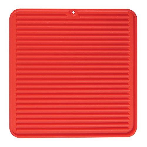 InterDesign Lineo Tapete escurridor, Alfombrilla escurreplatos compacta de Silicona para secar Cubiertos y vajilla, Rojo