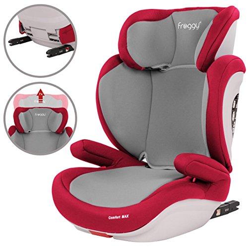Froggy® Autokindersitz mit ISOFIX Gruppe II/III + Sicherheitsnorm ECE R44/04 + 5-Punkte-Sicherheitsgurt verstellbare Kopfstütze+Rückenlehne Rot