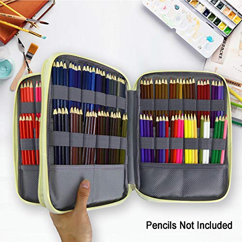 Large Capacity Pencil Holder Pen Organizer Bag with Zipper for Prismacolor Watercolor Coloring Pencils Color Alpaca YOUSHARES 192 Slots Colored Pencil Case Gel Pens for Student /& Artist