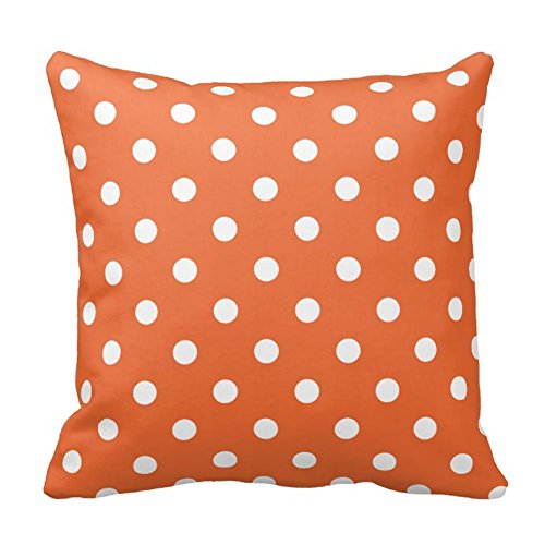 Polka Dots Designer Throw Pillow case/Taies d'oreillers Cover Square, Orange and White