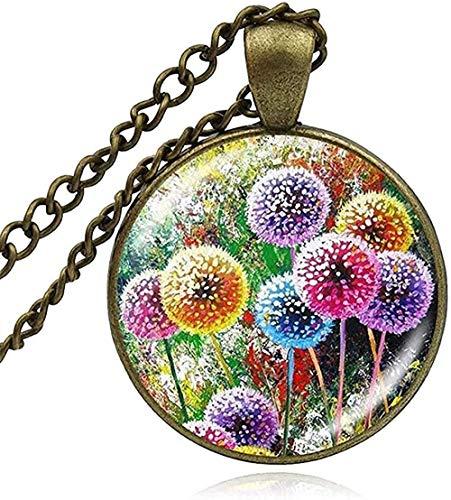BEISUOSIBYW Co.,Ltd Collar de diseño de Sierras, Collar de Suerte, Flores de Diente de león, Deseo Impreso, Colgante de cúpula de Cristal, joyería de Planta para Mujer, Collar