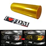 iJDMTOY 12 by 48 inches Self Adhesive JDM Golden Yellow Headlights or Fog Lights Tint Vinyl Film