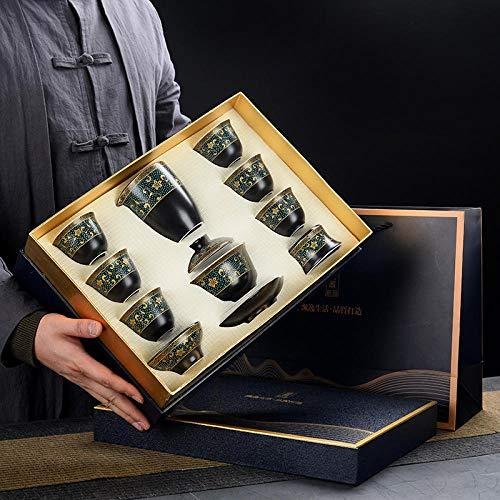 Teeservice Teeservice Set Haushalt einfache Teezubereitung Set Keramik Abdeckung Schüssel Teetasse Teekanne Moderne Geschenk High-End-Geschenkbox-10 Schwarz Matte-Gaiwan-Ziteng Huayu [Geschenkbox]
