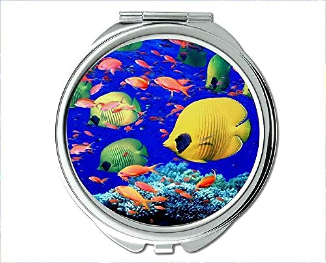 Mirror,Compact Mirror,fish design theme of Pocket Mirror,portable mirror 1 X 2X Magnifying