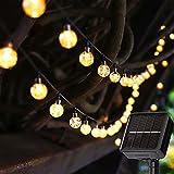 Solar Lichterkette Außen Wetterfest - 50 LED Lichterkette IP65 24.6Ft 8 Modi Kristall Kugeln Garten Lichterkette für Partys Warmweiß [Energieklasse A+++]