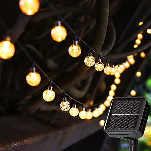 Guirnaldas Luces Exterior Solar - 50LED 8M Luces Solares Led Exterior Jardin Recargable, 8 Modos & Impermeable Cadena de Luces Solares Decoración para Terraza Patio Balcones Fiesta Boda