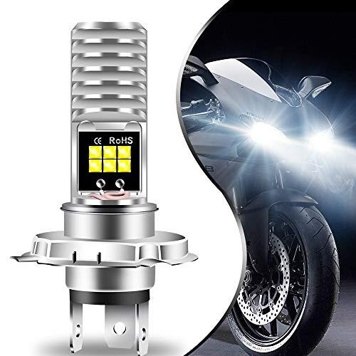 Teguangmei H4 HB2 9003 HS1 P43t LED Ampoule de Phare de Moto, Haut/Bas Faisceau Aluminium Blanc Super Brillant 6000K Blanc Haute Puissance 3030 Puces 12SMD pour Phare de Voiture Moto ATVS (Lot de 1)