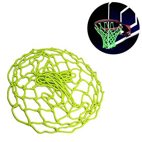 gotyou Rete da Basket Fluorescente Verde,Rete da Pallacanestro Professionale All'aperto,Rete da Canestro Standard in Nylon Intrecciata Auto-Luminosa,Rete da Pallacanestro per Bambini Adulti (45 cm)