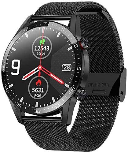 Reloj Inteligente Banda De Acero Material Bluetooth Función De Llamada IP68 Impermeable Podómetro Multifuncional Reloj Deportivo Plata-Negro
