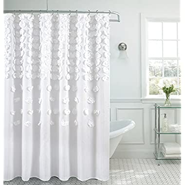 B&H Home Luxurious Bow Shower Curtain 70 x 72 Inch Made With 100% Polyester. (White)
