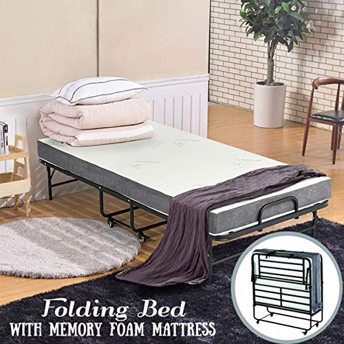 Erommy 7738 Inch Folding Bed with Super Strong Sturdy Frame and 5 Inch Luxurious Memory Foam Mattress,Portable Moving Wheels-Twin Size