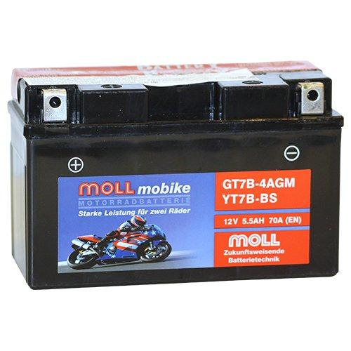 Moll mobike AGM Motorradbatterie YT7B-BS 5,5Ah 12V 70A - GT7B-4