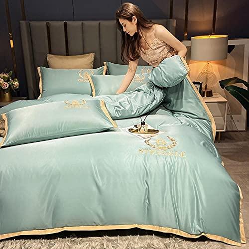 juego de ropa de cama 135x190-Xiashui Lavado Bordado Ropa de cama Seda Seda Seda Seda Comfort Especial Big Duvet Set Individual Double Bed Single Almohada Regalo-Esconder_1,8 m de cama (4 piezas)