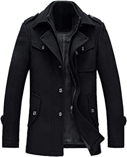 Lavnis Uomo Giacca di lana casuale tuta sportiva del cappotto monopetto Zipper Trench