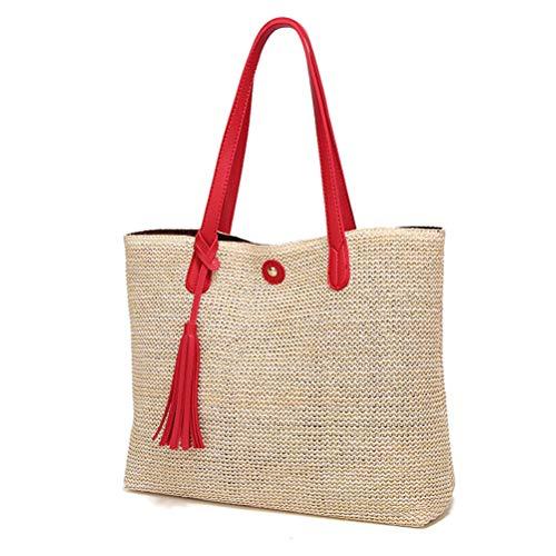 Merkts PU Strohtasche Strandtasche mit Quaste Schultertasche Hot Sale Strandtasche Häkeln Schultertasche Handtasche, rot (Rot) - 198251934072118