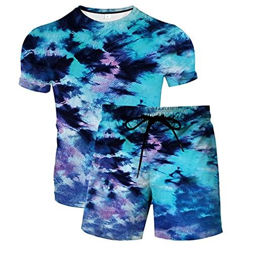 Pantalones Cortos de Playa para Hombre Tronco de Baño con Estampado 3D de Secado Rápido con Cordón y Camisetas Casuales de Verano Novedad de Manga Corta(Azul,4XL)