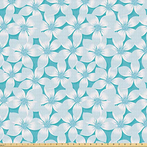 Lunarable Turquoise Fabric by The Yard, Macro Tropical Hibiscus Flowers Pattern in Gradient Colors Hawaiian Exotic Print, Stretch Knit Fabric for Clothing Sewing and Arts Crafts, 3 Yards, White Blue
