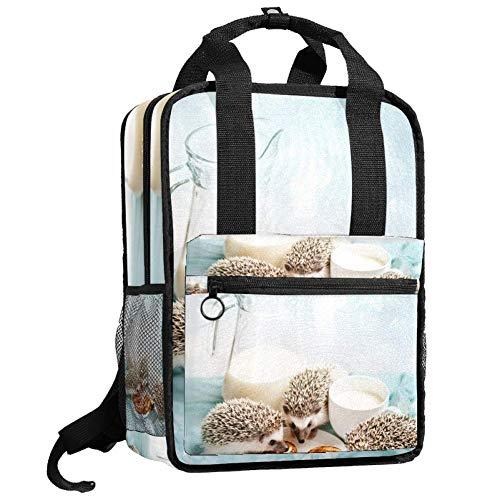 TIZORAX Rucksack für Frauen, Igel essen Brot, für Teenager, Mädchen, Jungen, Schule, College, Büchertasche, Handtasche, gepolstert, Wandern, Reisetaschen, lässiger Tagesrucksack