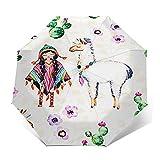 Paraguas Plegable Automático Impermeable Eleva Tus Plantas de Cactus, Paraguas De Viaje Compacto a Prueba De Viento, Folding Umbrella, Dosel Reforzado, Mango Ergonómico